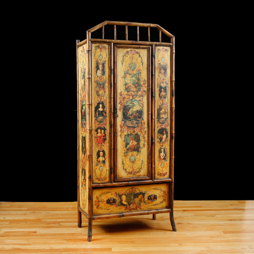 English Bamboo Wardrobe Or Armoire With Decoupage, C. 1880