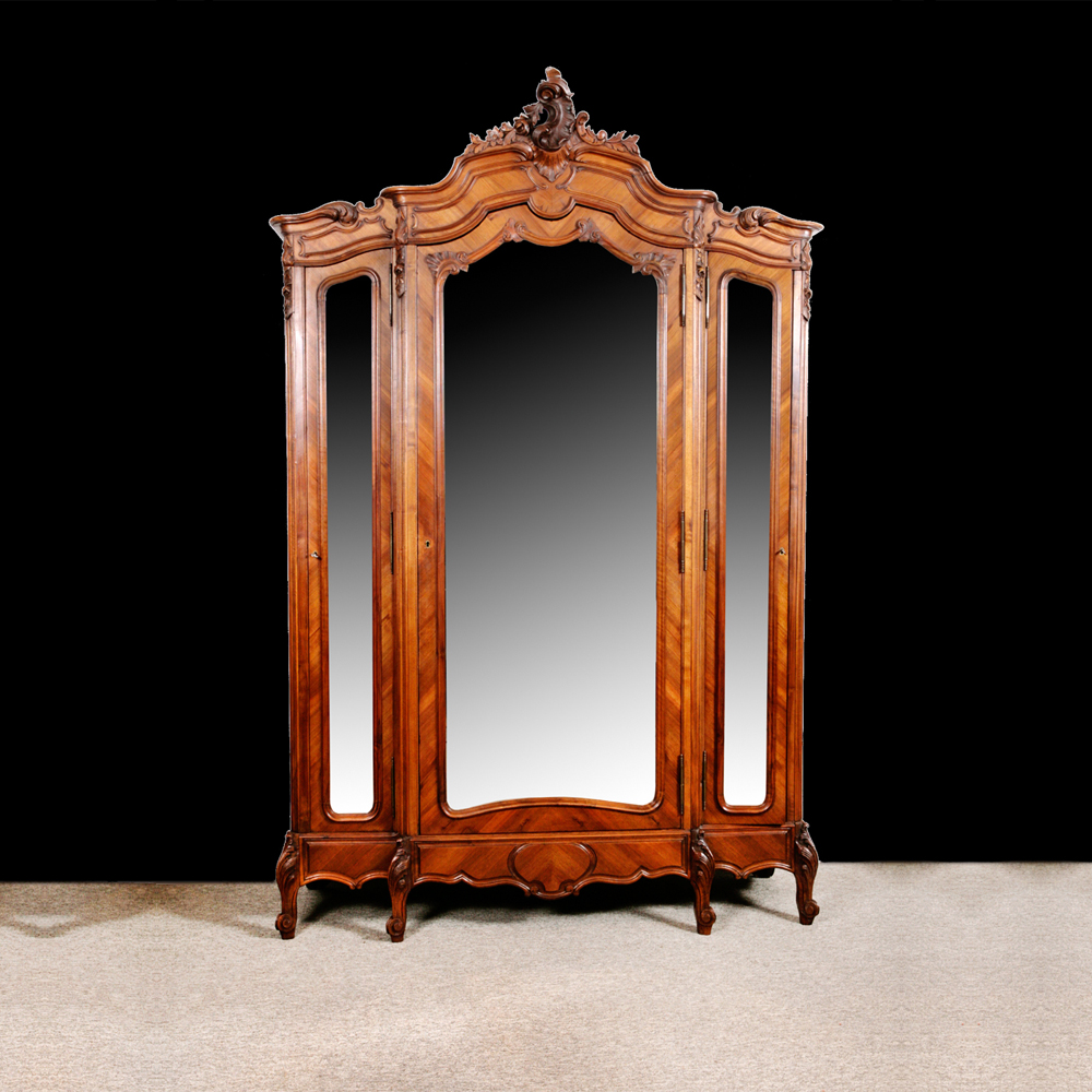 French Louis XV Style Armoire In Carved U0026 Parquetry Walnut With Beveled  Mirrored Panels, C. 1870