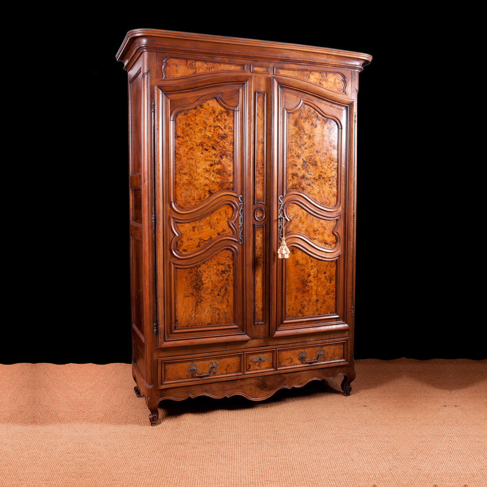 French Armoire In Walnut With Burled Panels, C.1750