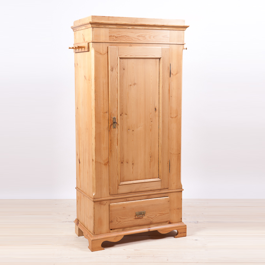 single door danish wardrobe armoire in pine c 1845. Black Bedroom Furniture Sets. Home Design Ideas