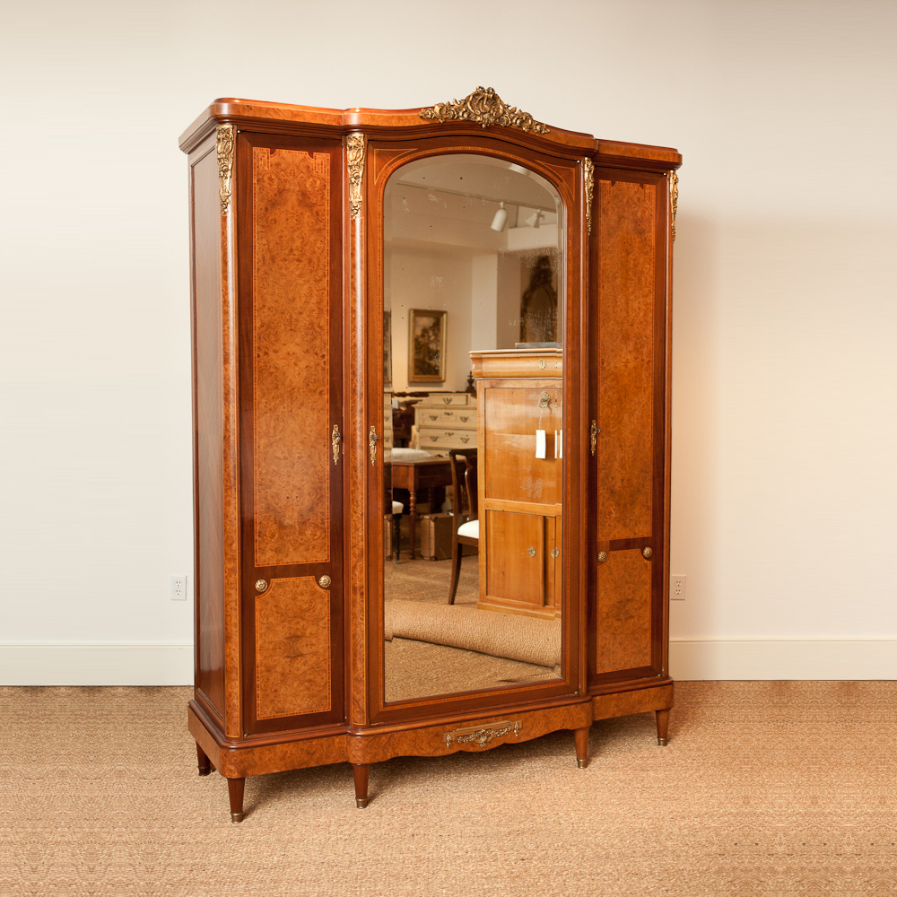 French Antique Armoire with Mirrored Center Panel - French Antique Armoire With Mirrored Center Panel - Bonnin Ashley