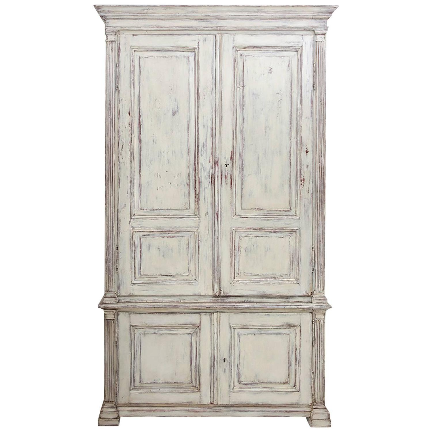 Painted Swedish Armoire with Raised Panels and Fluted Pilasters, circa 1850 - Painted Antiques Antique Painted Furniture Vintage Painted