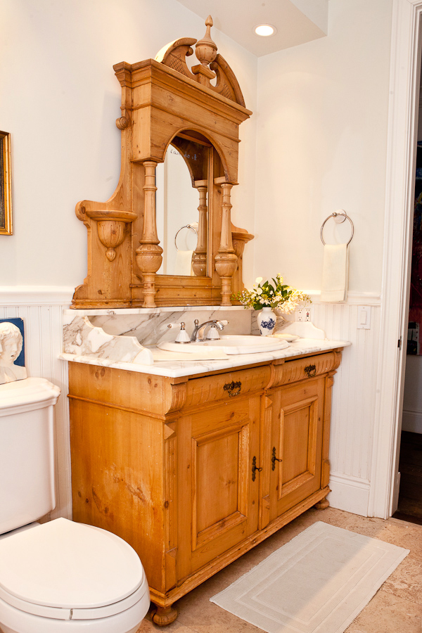 Danish Antique Pine Cabinet with Original Mirror Converted to Sink, c. 1880 - Danish Antique Pine Cabinet With Original Mirror Converted To Sink