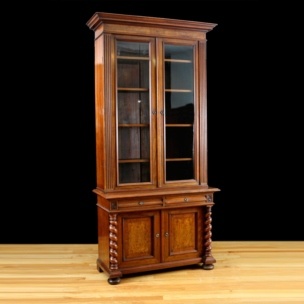Antique Bookcase In Walnut Burled Northern Europe C 1890