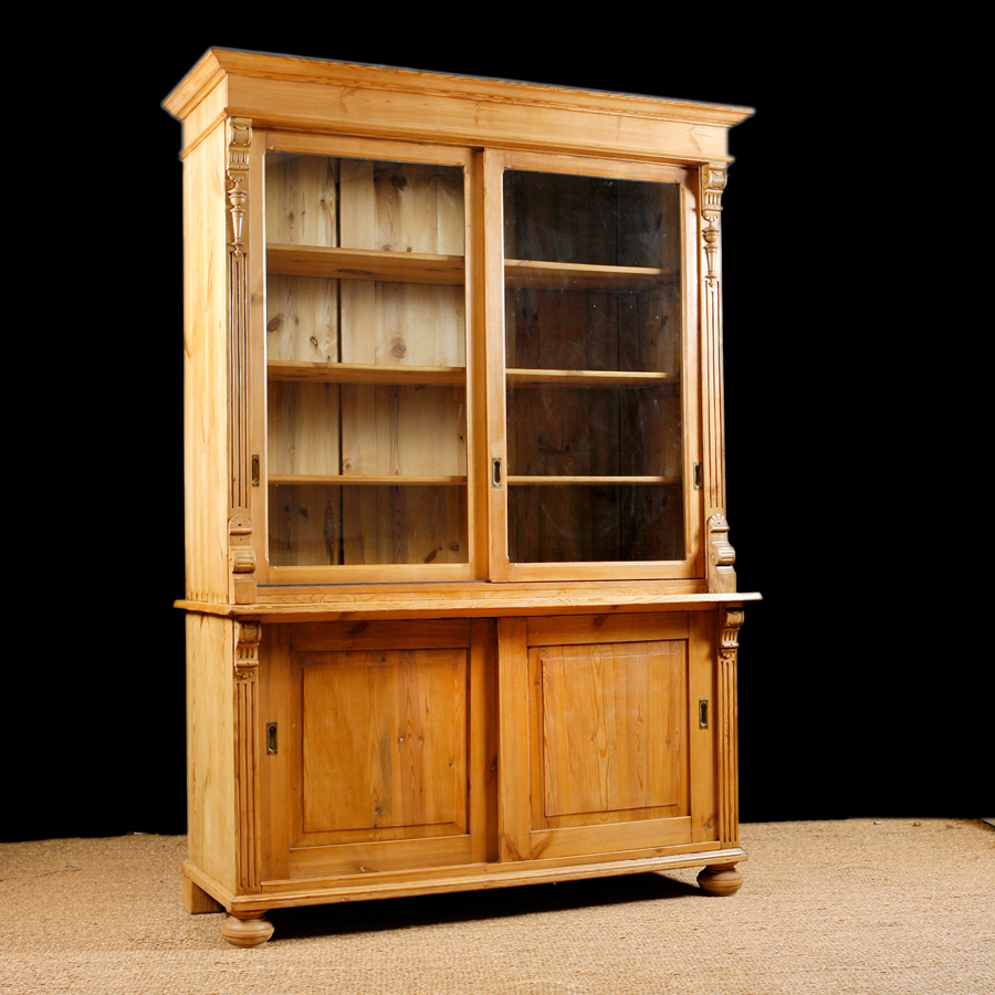 Antique Bookcase In Pine With Glass Doors, C.1890