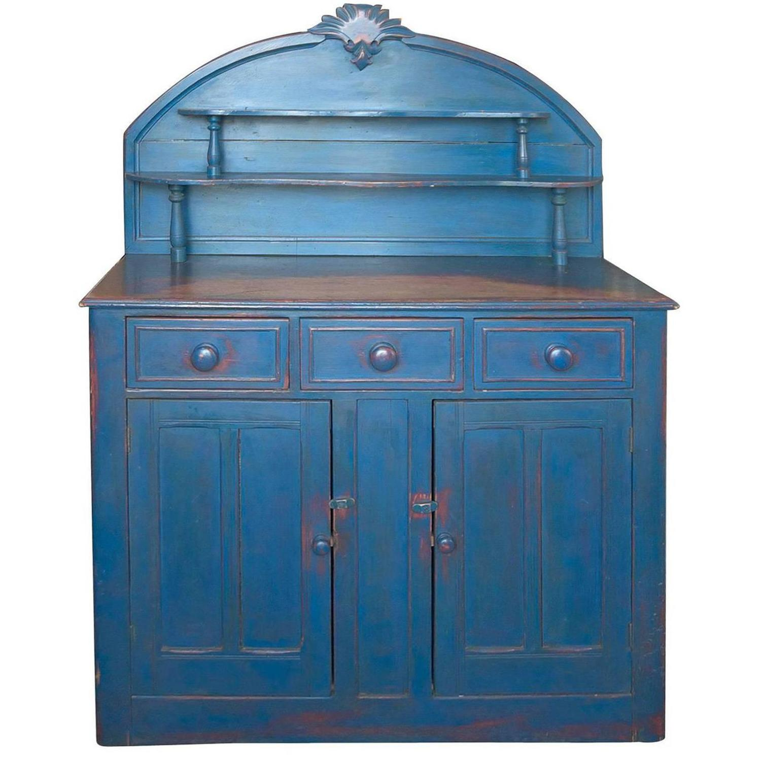 english cupboard in pine with blue paint circa 1880 - Antique Cupboard