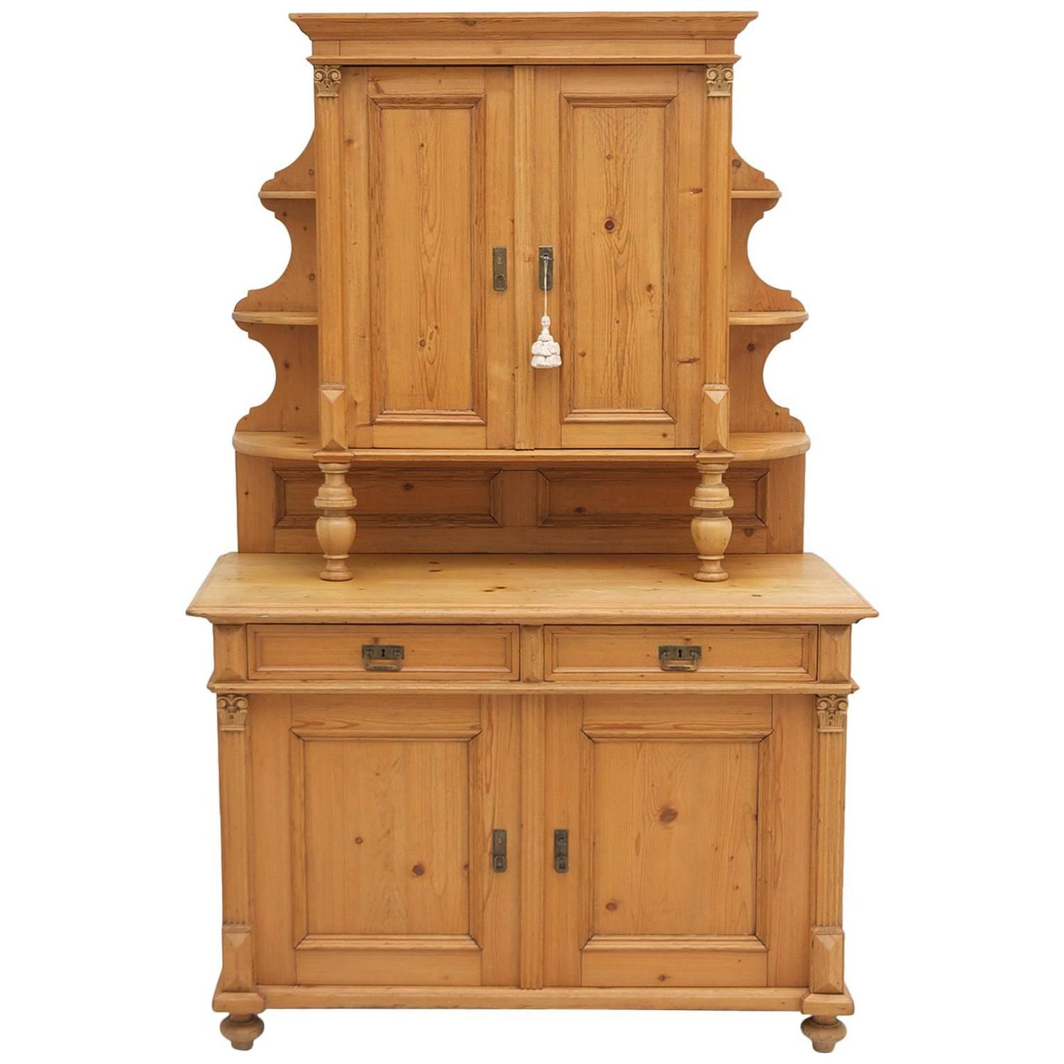 Great Antique Pine Gründerzeit Buffet Cupboard, Circa 1880