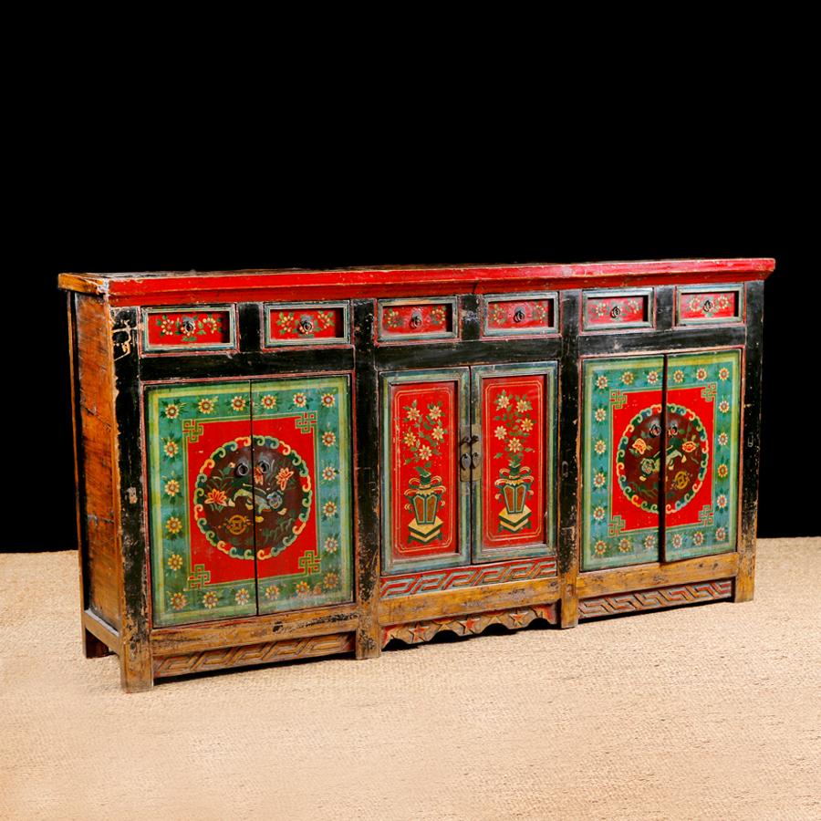 Antique Tibetan Sideboard In Original Paint, C. 1900