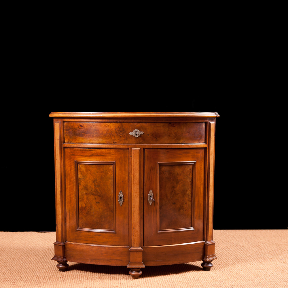 Antique Napoleon III Corner Cabinet in Walnut, France, c. 1870 - Antique Napoleon III Corner Cabinet In Walnut, France, C. 1870
