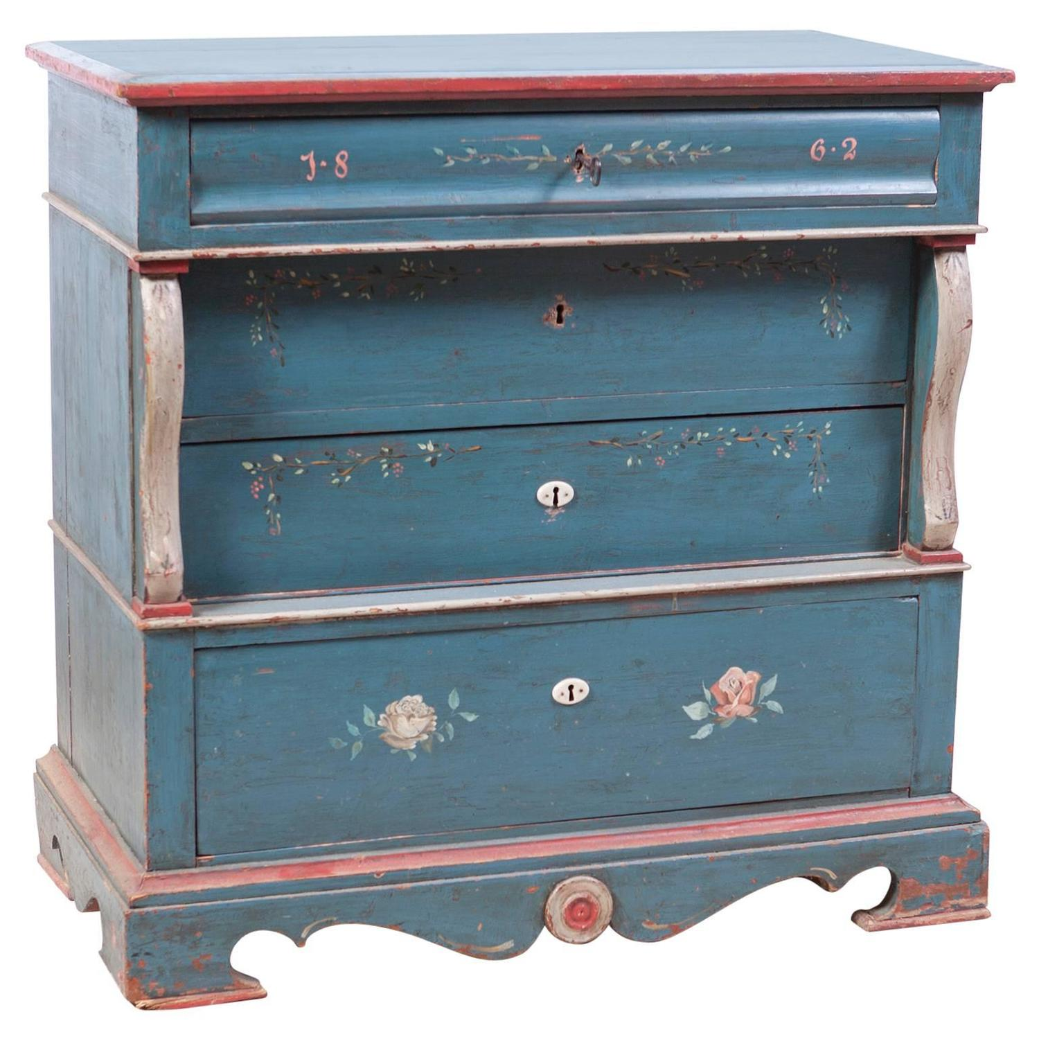 Antique Scandinavian Wedding Chest with Blue Paint and Pink Flowers, Dated  1862 - Painted Bridal Chest Of Drawers, C. 1790 - Bonnin Ashley Antiques