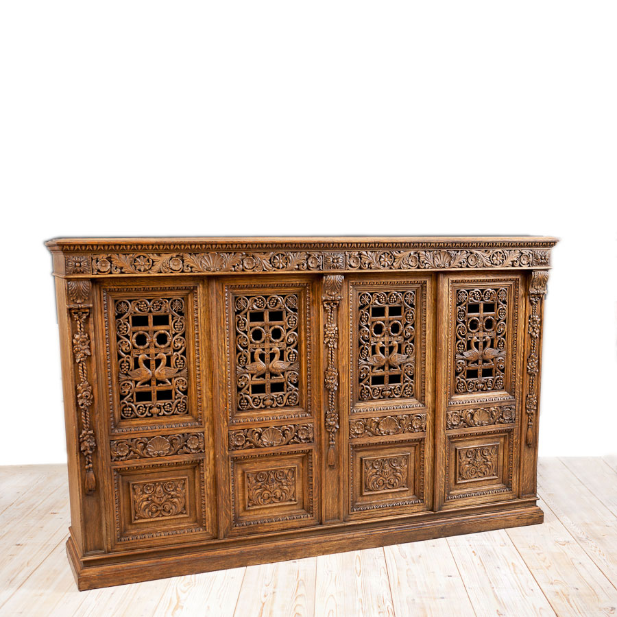 French Antique Four Door Carved Cabinet With Pierced Panels Bonnin