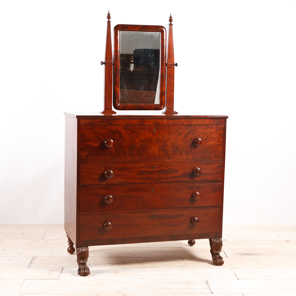 Antique American Empire Chest Of Drawers With Vanity Mirror Maine C 1835