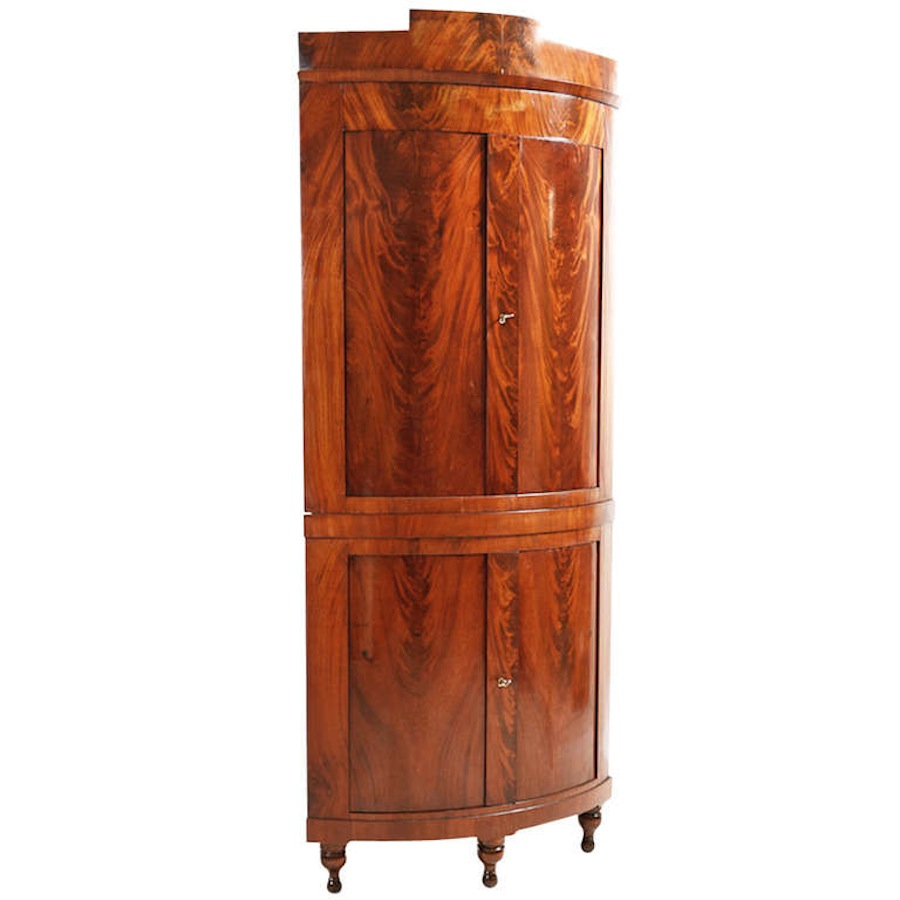 Bow Front Danish Empire Corner Cabinet Or Cupboard In Mahogany, Circa 1810
