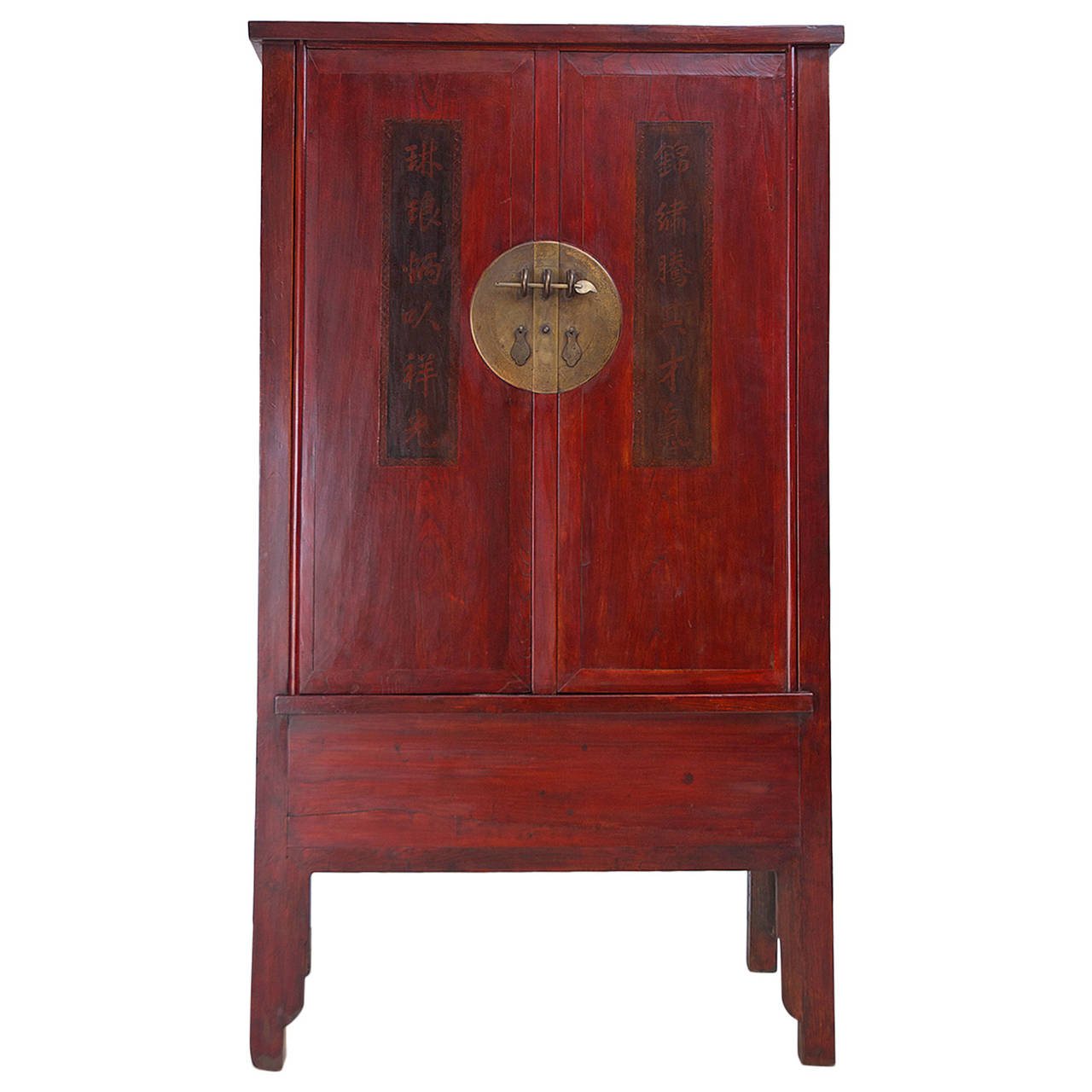 19th Century Red Lacquered Chinese Cabinet