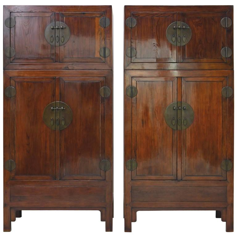 Pair of Tall Chinese Qing Dynasty Cabinets with Four Doors & Pair of Tall Chinese Qing Dynasty Cabinets with Four Doors: Antique ...