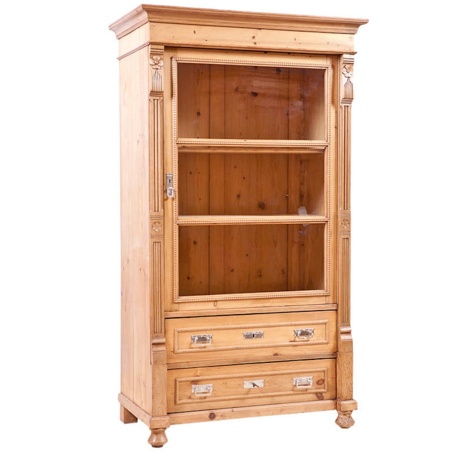 Art Nouveau Vitrine or Cupboard in Pine, Germany, c. 1900 - Antique Cupboard In Pine With Original Glass Paneled Doors, C. 1900