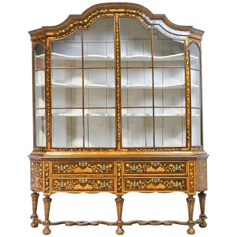 Vitrine Boekenkast Wit.Dutch Vitrine Glass Display Cabinet With Marquetry Circa 1800