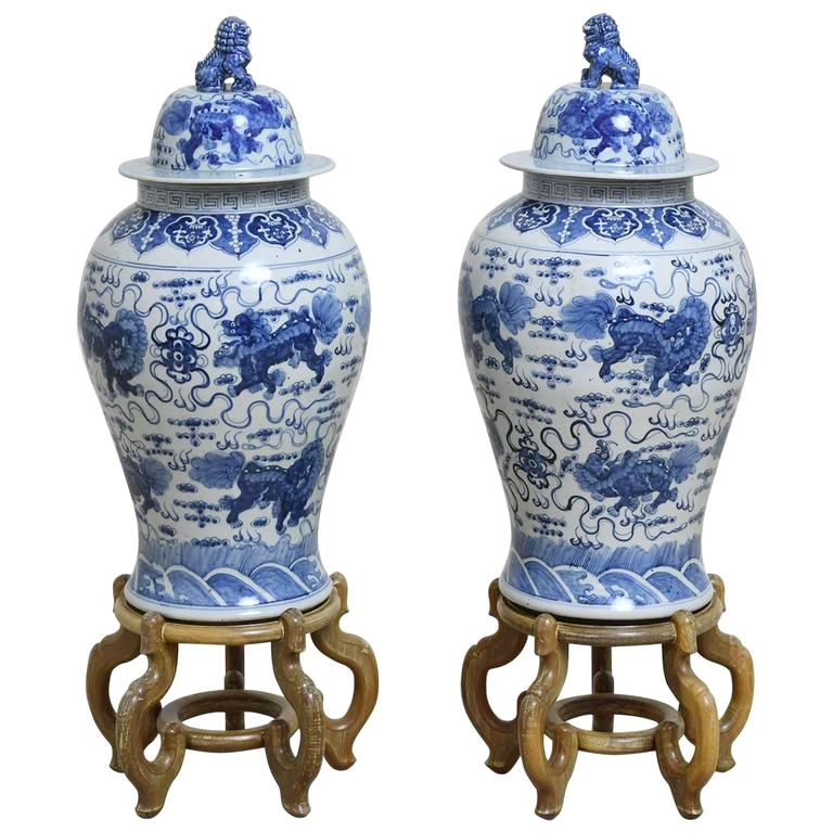 Pair of 20th Century Chinese Blue and White Porcelain Urns