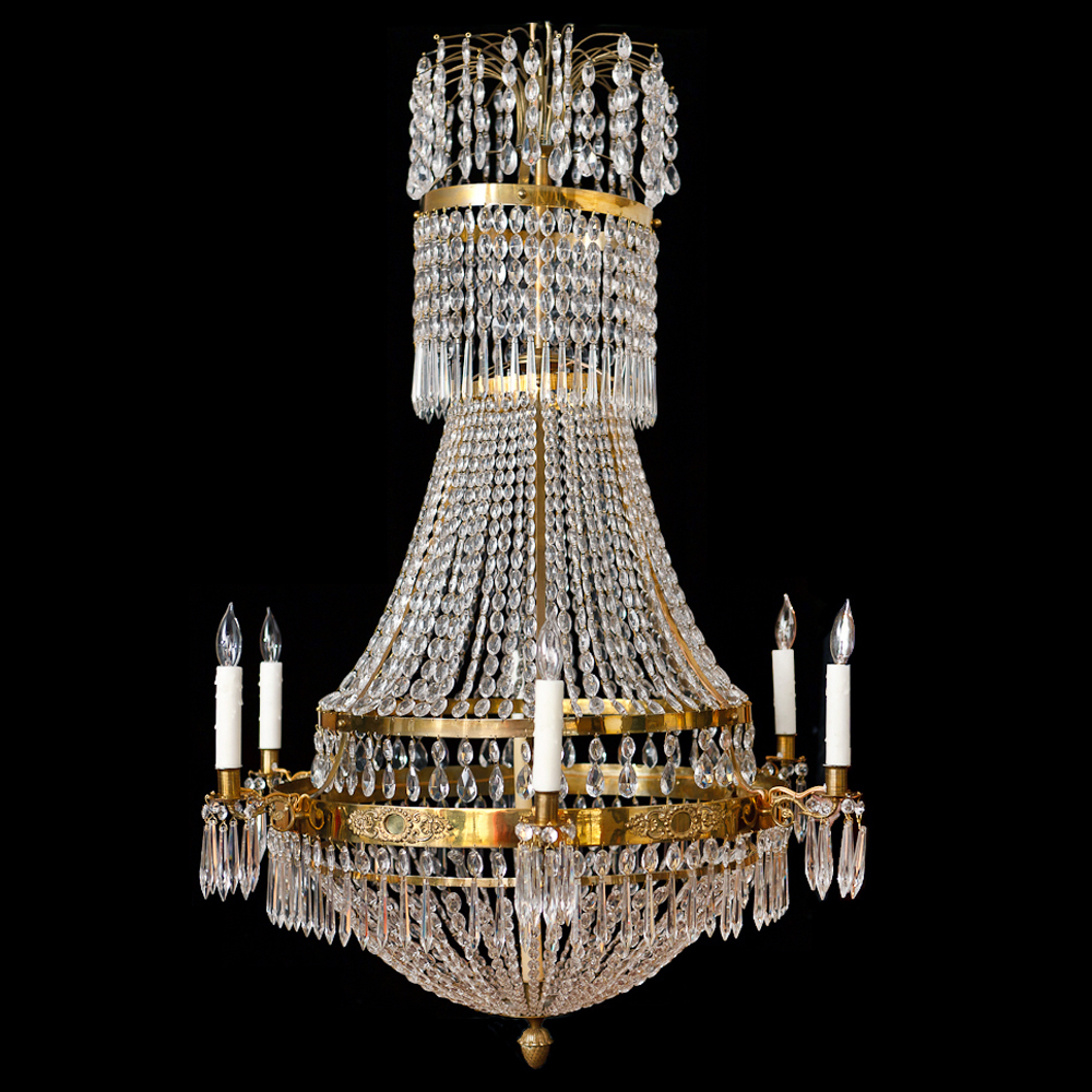Six light swedish antique empire chandelier in brass and cut crystal six light swedish antique empire chandelier in brass and cut crystal c 1810 mozeypictures Choice Image