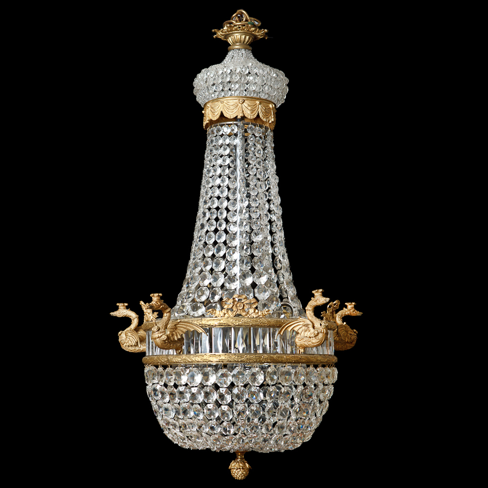 French Antique Five-Light Empire Style Chandelier with Cut Crystals, c.1900 - French Antique Five-Light Empire Style Chandelier With Cut