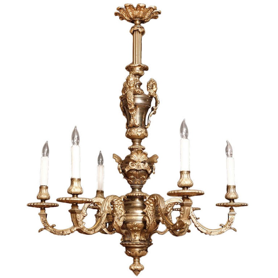 French Louis Xv Style Chandelier In Bronze Dore With Six Lights C 1860