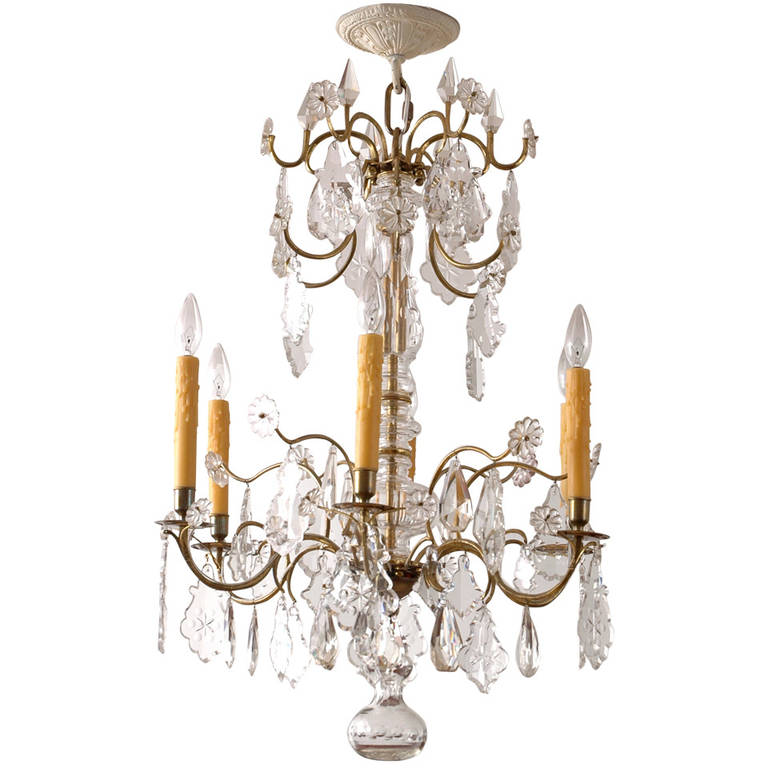 Rococo style crystal chandelier with six lights c 1870 bonnin swedish rococo style crystal chandelier with six lights aloadofball Gallery