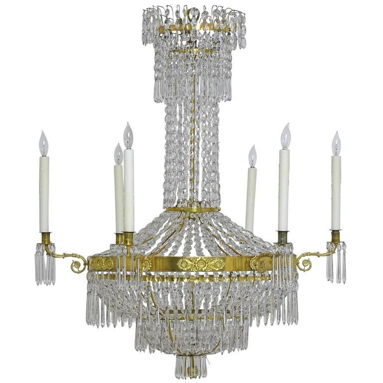 Swedish empire chandelier with seven lights bonnin ashley antiques swedish gustavian empire crystal chandelier with ten lights circa 1790 mozeypictures Choice Image