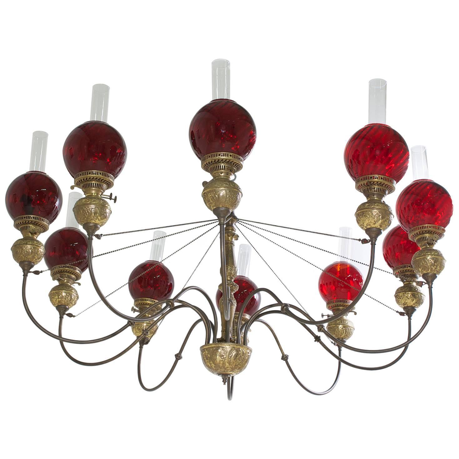 English victorian ten light chandelier in brass with cranberry english victorian ten light chandelier in brass with cranberry glass globes arubaitofo Gallery