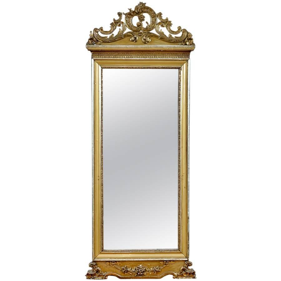 French antique mirror in carved and gilded wood bonnin for Antique french mirror