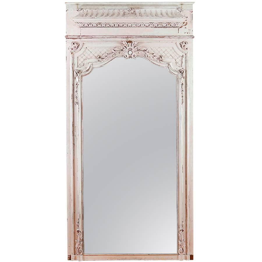 french antique trumeau mirror in carved and painted wood c 1880 bonnin ashley antiques. Black Bedroom Furniture Sets. Home Design Ideas