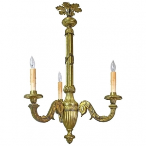 French Belle Époque Three-Light Chandelier in Bronze Doré, circa 1900
