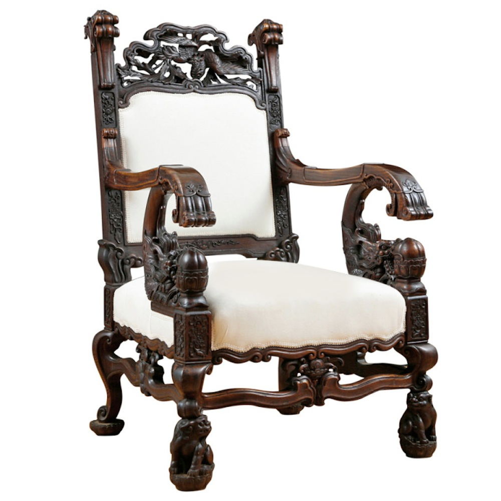 Dragon Chair in Elaborately Carved Rosewood - Dragon Chair In Elaborately Carved Rosewood - Bonnin Ashley Antiques