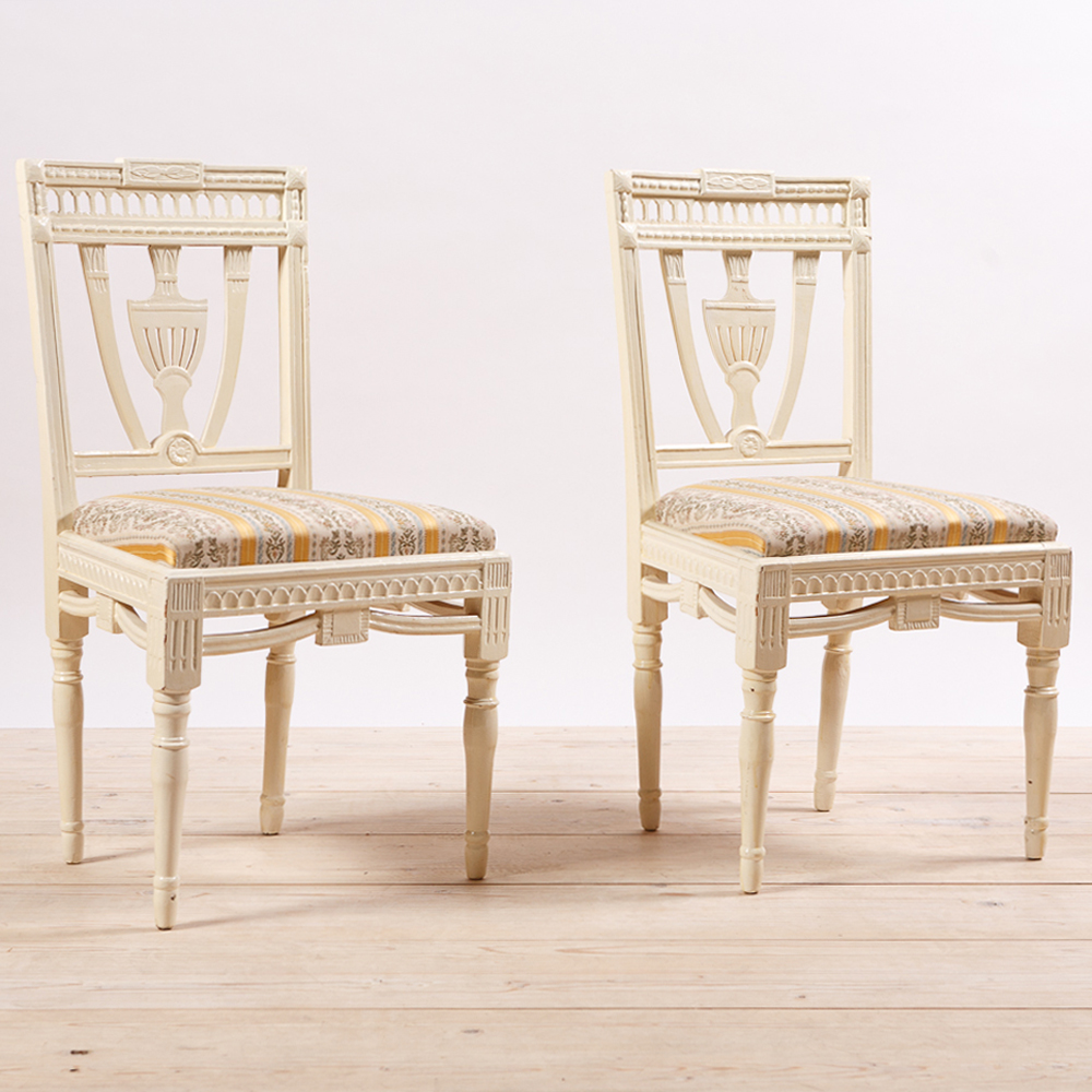 Beau Pair Of Painted Gustavian Style Side Chairs, C.1900