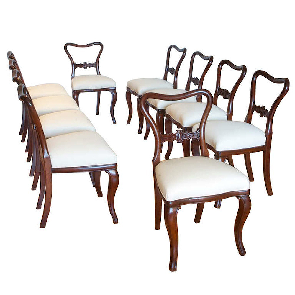 Set Of Ten Baltic Mahogany Dining Chairs Bonnin Ashley Antiques Miami FL
