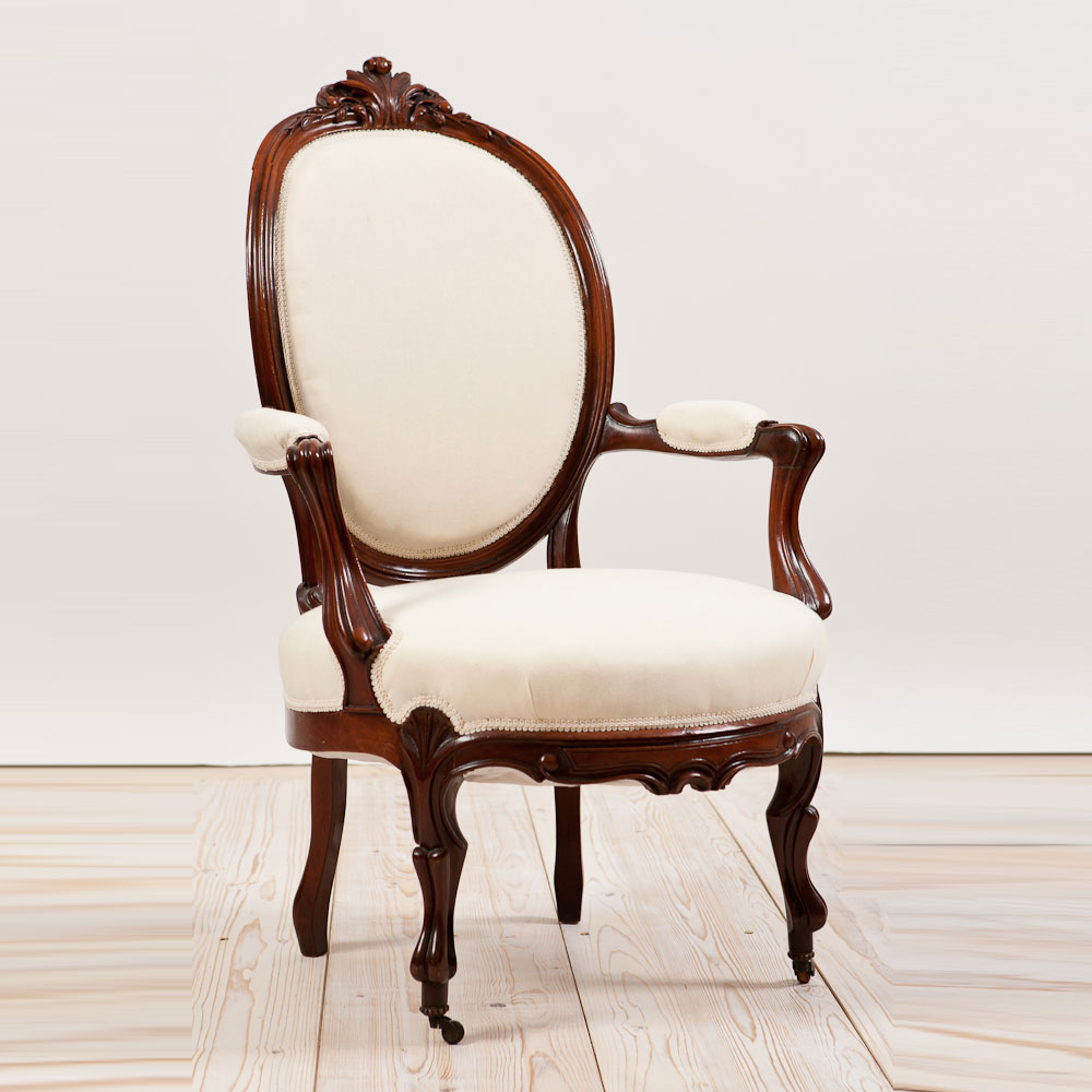 Antique French Belle Epoque Armchair in Mahogany, c.1870 - Antique French Belle Epoque Armchair In Mahogany, C.1870 - Bonnin