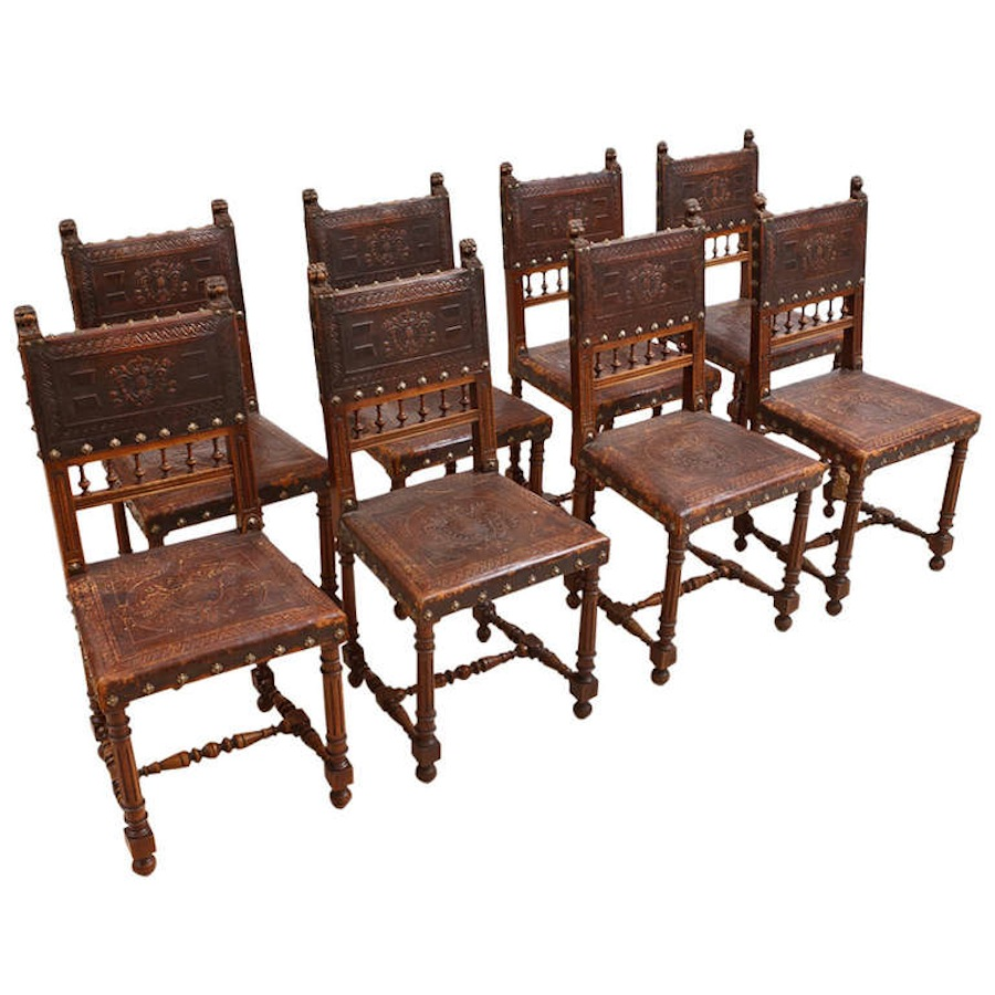 Set Of Eight French Antique Neo Renaissance Dining Chairs In Walnut, C. 1860
