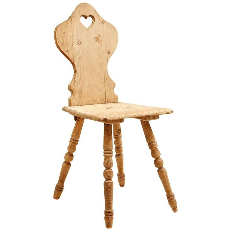 Antique chair legs - Pine Tyrolean Chair With Carved Back And Turned Legs Austria C 1880