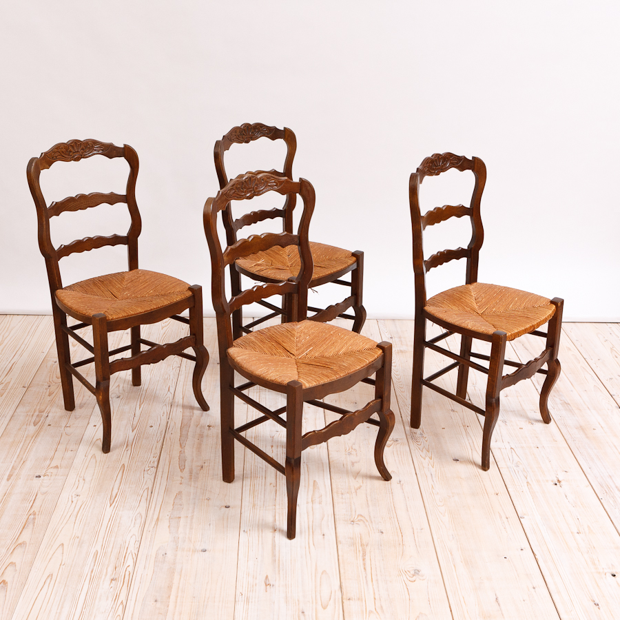 Set Of Four French Antique Dining Chairs With Rush Seats