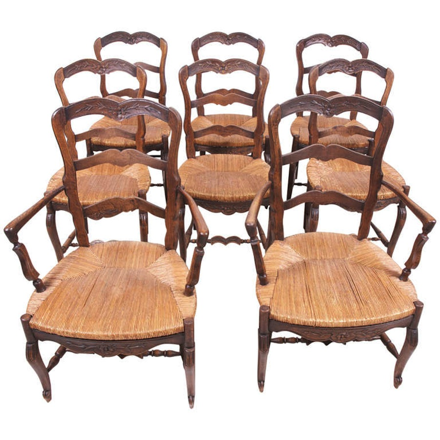 set of eight 8 provincial louis xv style dining chairs c 1830 bonnin