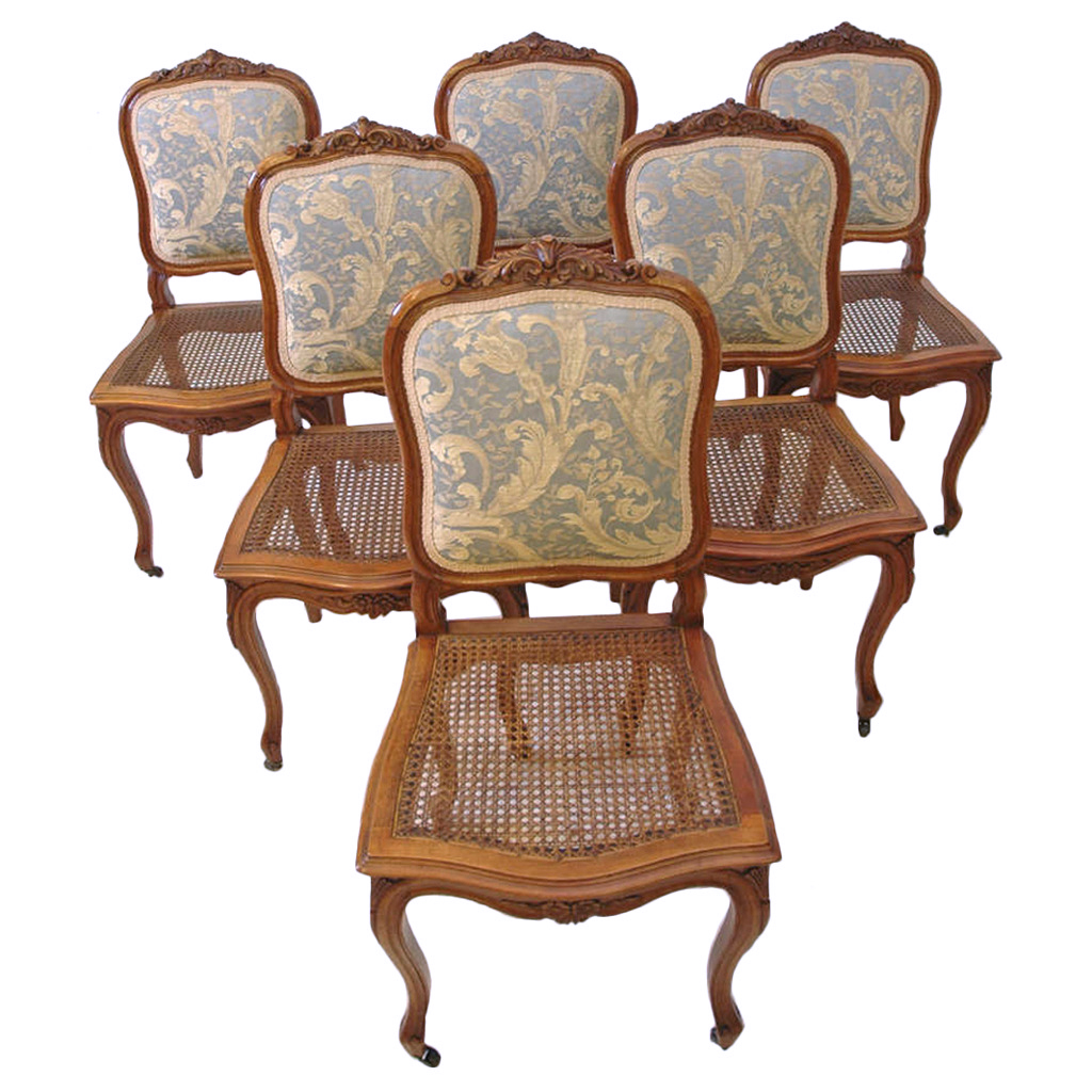 Set Of Six French Louis Xv Style Dining Chairs In Carved Walnut C 1880