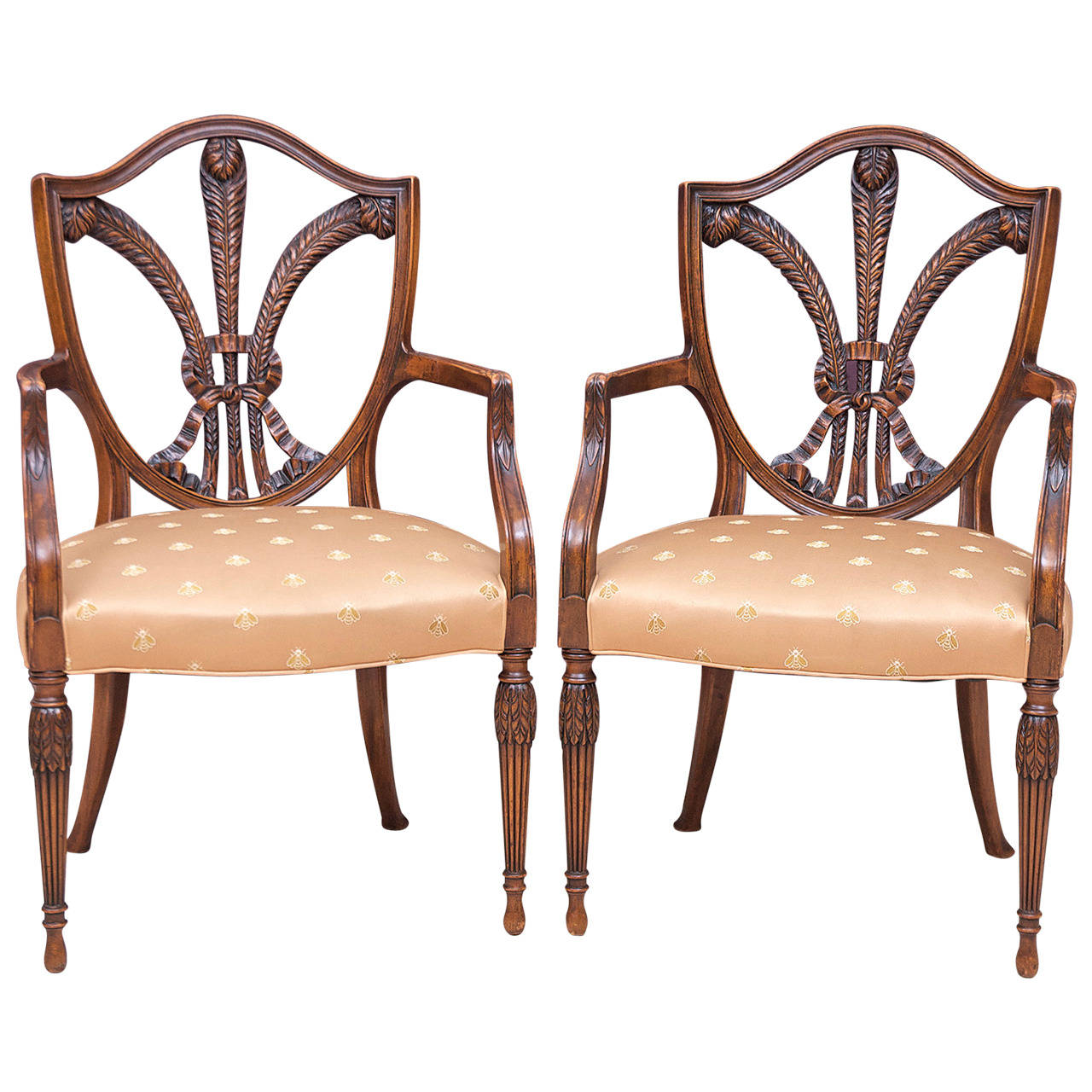 19th Century Pair Of Shield Back Armchairs With Carved Prince Of Wales  Feathers