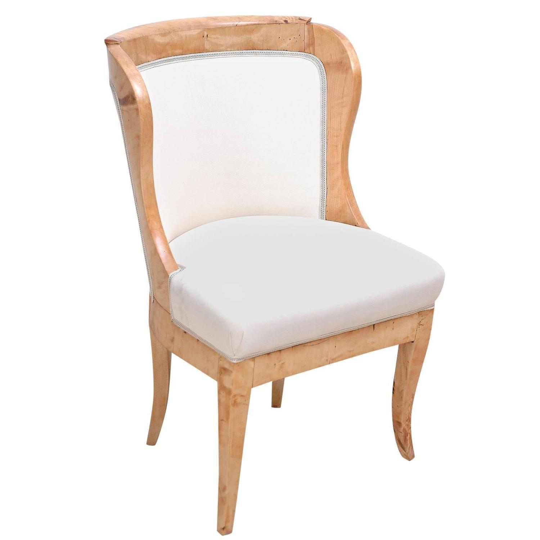 Swedish Biedermeier Desk Or Dressing Table Chair In Birch, Circa 1820