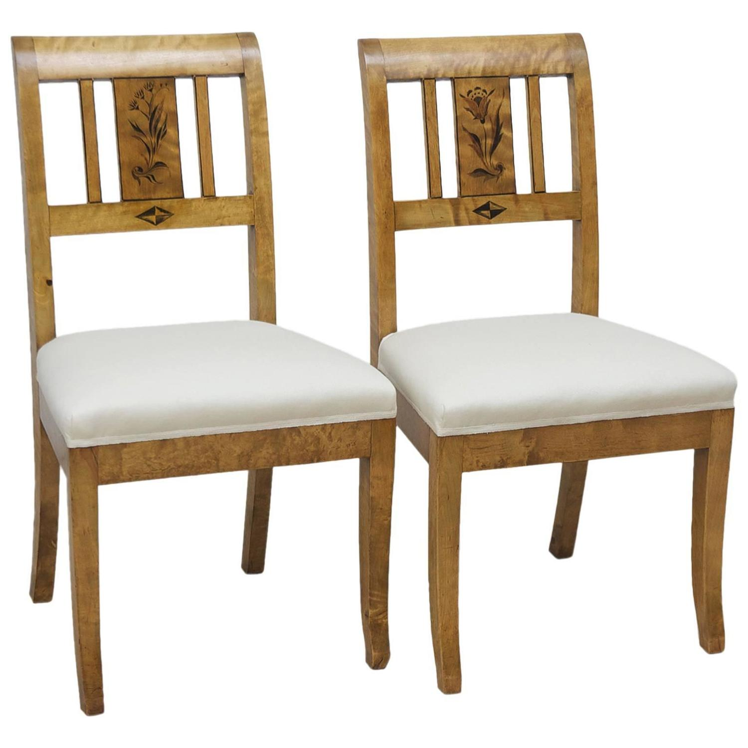 Pair Of Art Deco Chairs In Birch With Upholstered Seat