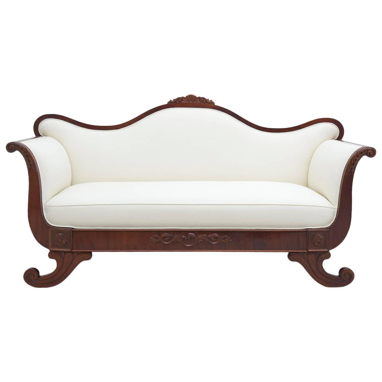 Scandinavian empire or early biedermeier sofa with mahogany frame and upholstery bonninashley Biedermeier sofa
