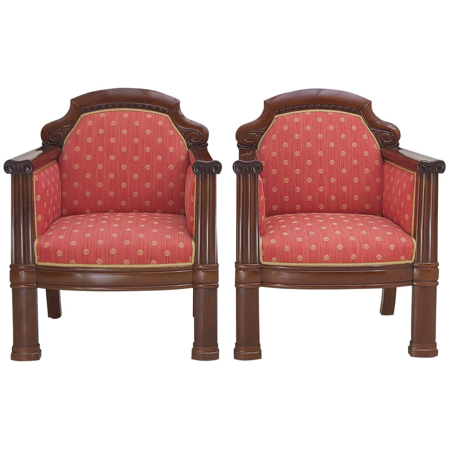 Genial Pair Of Danish Art Deco Club Chairs In Mahogany With Upholstery, Circa 1920s