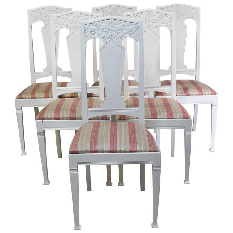 Set Of Six Arts Crafts Dining Chairs With Upholstered Seat Scandinavian Circa 1900