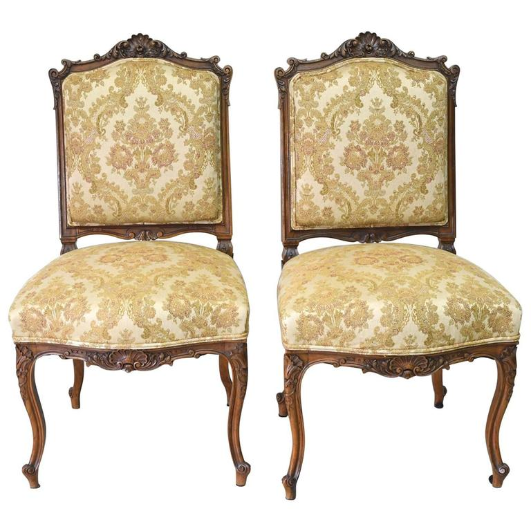 Pair Of French Louis Xv Style Carved Walnut Chairs With Upholstery Circa 1860