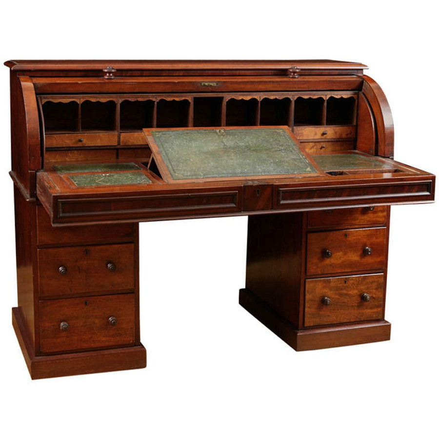 English Pedestal Desk in Mahogany with Cylinder Top - Antique English Pedestal Cylinder Top Desk In Mahogany C.1850