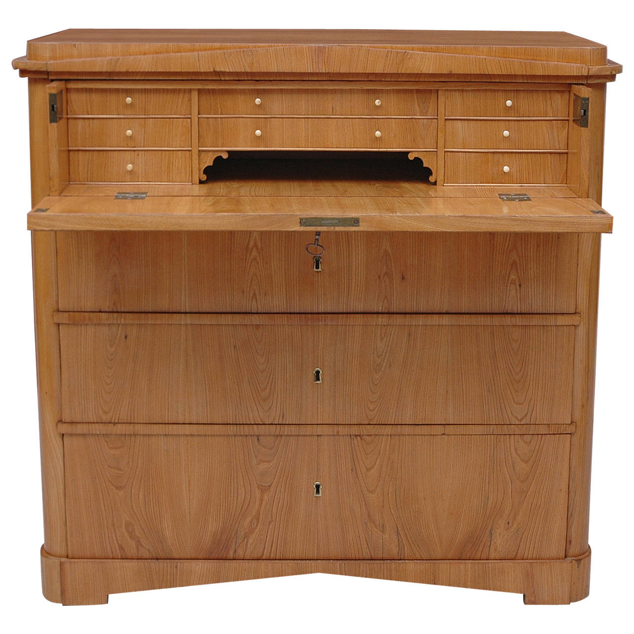 Biedermeier Ash Chest of Drawers with Fold-Down Drawer-Front Secretary - Biedermeier Ash Chest Of Drawers With Fold-Down Drawer-Front