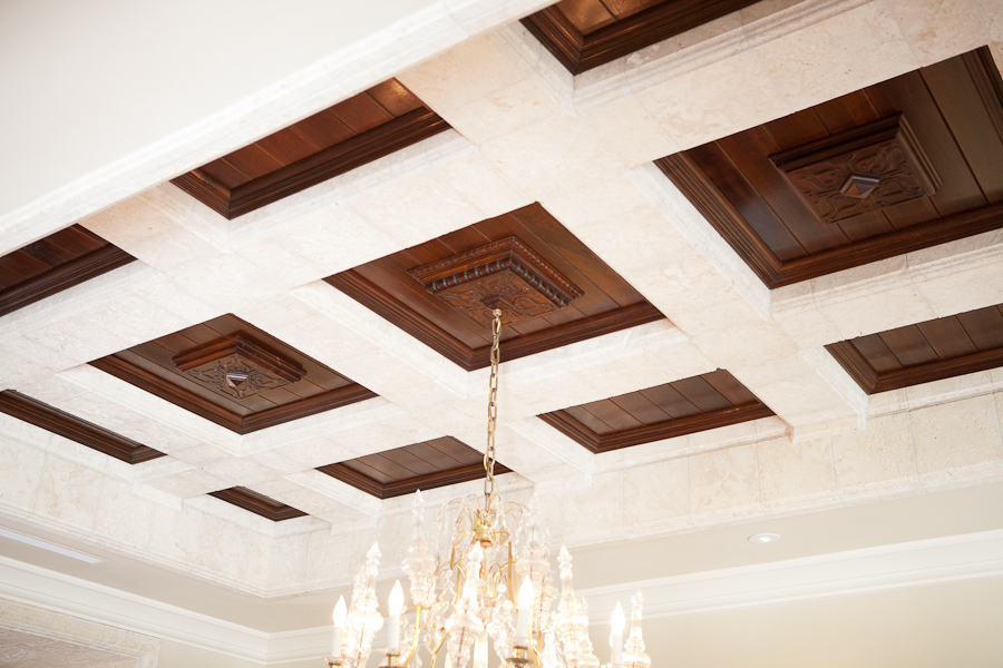 Coffered Ceiling With Black Walnut Wood Panels Bonnin
